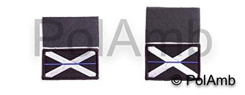 Dünn Blaue Linie Schottische Polizei Union Jack Haken + Loop Verstärkte Aufnäher (UK Schottland Abzeichen Abzeichen) Set -