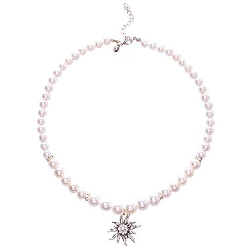 Jane Stone Damen Dirndl Kette mit Anhänger Edelweiß groß Trachtenschmuck weiß Perlen Hakskette aus Kunstperlen Strass und Metalllegierung