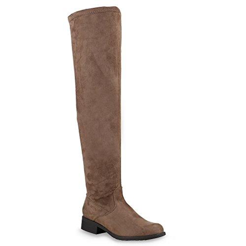 Gefütterte Damen Overknees Metallic Winter Stiefel Lederoptik Total Taupe