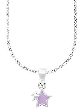 Prinzessin Lillifee Kinder-Kette mit Anhänger Stern 925 Silber rhodiniert Emaille lila  - 541824