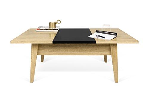 TemaHome Table d'appoint, Bois, chêne Vert Citron/Noir, 105 x 60 x 40 cm