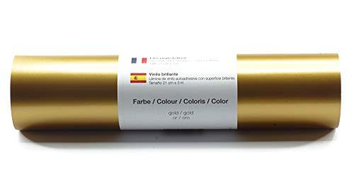 Selbstklebende Plotterfolie Vinylfolie 21 cm x 3 m glänzend 39 Farben zur Auswahl, Farbe:Gold