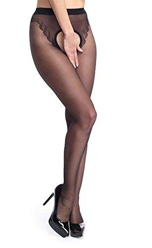 Pariser-Mode Ouvert-Strumpfhose 20 den mit Ziernaht, schwarz, Gr. 3 (L/XL)