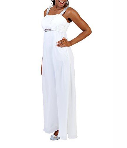 Astrapahl Damen Cocktail Kleid mit Pailletten, Maxi Weiß (Weiß)