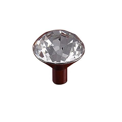 Lugii Cube tiroir placard Poignée de traction de cuisine matériel Armoire à portes en verre cristal forme de diamant, Large Single Hole