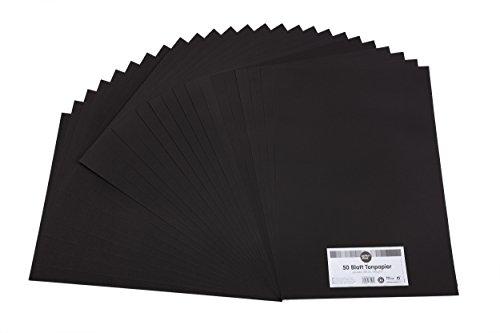 perfect ideaz 50 Blatt schwarzes Ton-Papier im A3 Format, Tonzeichen-Papier, durchgefärbt, in schwarz, 130g/m², Bastel-Bögen in hochwertiger Qualität