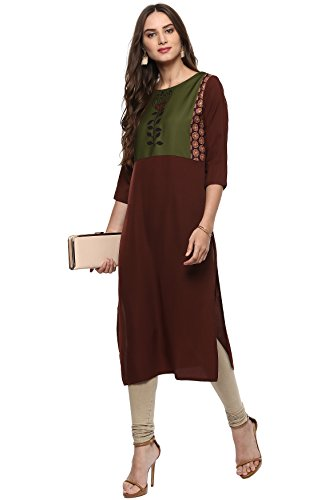 Janasya Women's Brown Printed Crepe Straight Kurti (JNE2009-KR-310)
