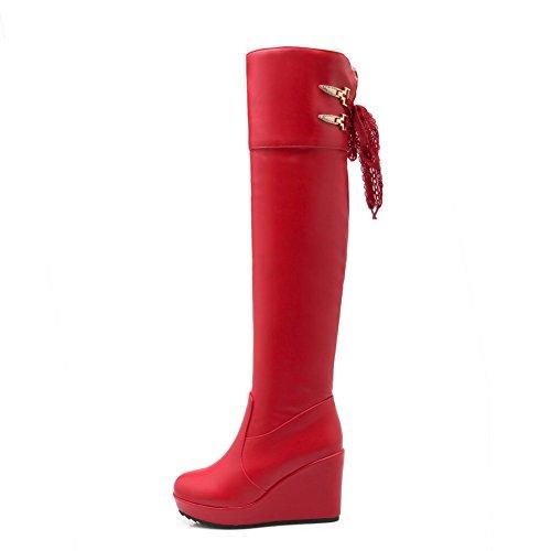 AgooLar Damen Hoch-Spitze Ziehen auf Weiches Material Hoher Absatz Rund Zehe Stiefel, Rot, 34