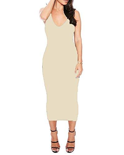 SaiDeng Femmes Casual Sans Manches Cocktail De Robes De Soirée Clubwear Midi Dress Abricoté
