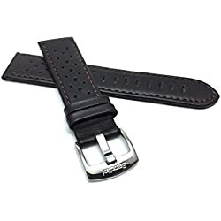 24mm Brown Vented Racer Genuine Leather Watch Strap Band, with Stainless Steel Buckle, NEW!