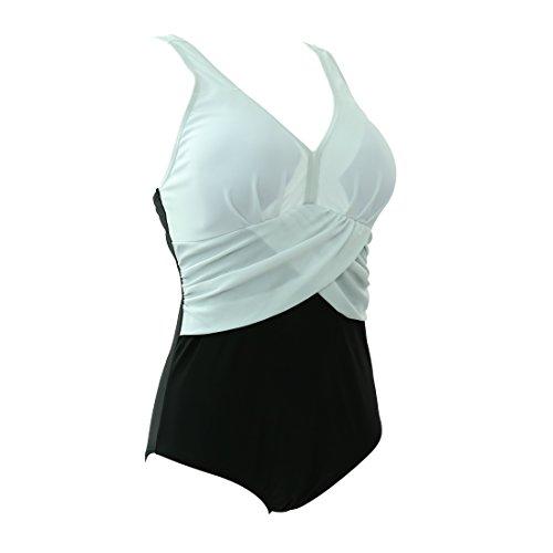 GWELL Frauen Vintage Elegant Plus Size Einteiler Push up V-schnitt Badeanzug Schwimmanzug Mehrfärbig Bademode Weiß