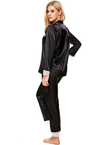 ADOME Damen Schlafanzug Satin V-Ausschnitt Pyjama Set Langarm Nachtwäsche Knopfleiste Zweiteiliger Große Größen Schwarz/Rot/Blau Gr.S-XXL 6446_Schwarz