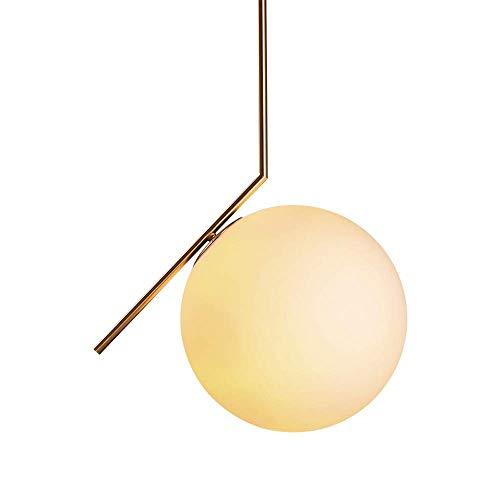 Lampara Techo, Lamparas de Techo Salon, Sombra esférica de Vidrio, 20cm de Diámetro, Blanco lechoso, Diseño Moderno y Elegante, para Sala de Estar Dormitorio Comedor, E27 (Bombilla no Incluida)