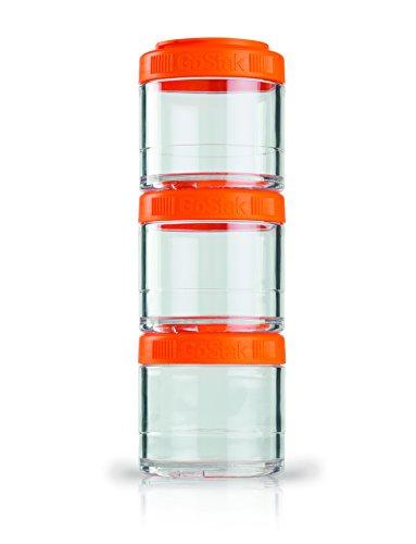 BlenderBottle GoStak 3Pak 100ml orange - (3x 100ml) Container zum Aufbewahren von Protein, Eiweiß, Pulver, Vitaminen, 1er Pack