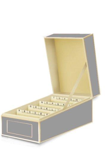 Semikolon Visitenkarten-Box mit Registern, Registerkarten von A-Z in grey (grau) | Bussiness-Card-Box | Alternative zu Visitenkartenmappe, Visitenkartenhalter, Karteikasten, Visitenkarten-Etui