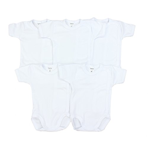 Baby Kurzarm-Wickelbody Babybody 100% Baumwolle Mädchen Body Jungen im 5er Pack, Farbe: Weiß, Größe: 62