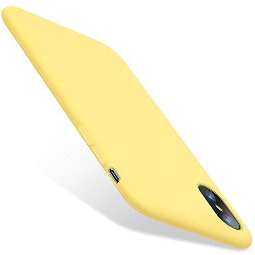 TORRAS iPhone XS Hülle/iPhone X Hülle [Love Serie] Silikon Dünne HandyHülle Stoßfest Slim hülle Premium Kratzfest Case mit Soft Microfaser Tuch Futter Bumper für iPhone XS/iPhone X - Gelb