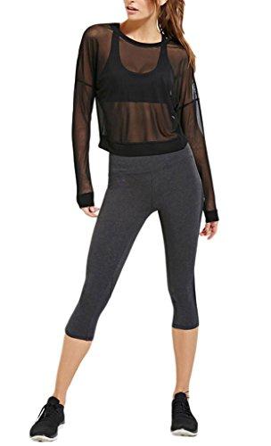 Gaze Pullover (Smile YKK Sommer Damen Sport Cover Up Durchsichtig Gaze Bikini Bra Deckung Oberteil T-Shirt Shirts Langarm Pulover Schwarz M)