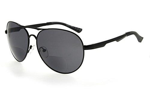 Eyekepper Bifokal Sonnenbrille Pilot Stil Bifokal Sun Leser Draussen Lesung Gläser(Schwarz, 1.00)