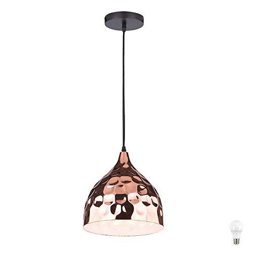 Vintage Hänge Lampe Pendel Wohnraum Decken Fluter Hammerschlag Optik Strahler rose-gold im Set inkl. LED Leuchtmittel