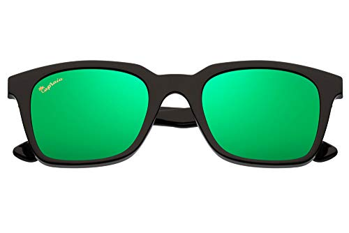 Capraia Vespolina Wide Rectangular Vintage Sunglasses Ultra Light High Quality TR90 Black Frame and Green Mirrored Polarised Lenses UV400 protected Mens Womens