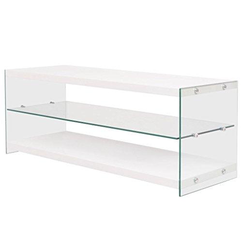 Festnight mobile porta tv in vetro temperato e mdf bianco/rovere 115 x 40 x 45 cm per salotto/soggiorno