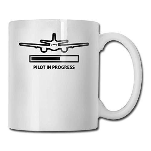 Daawqee Becher Coffee Mugs 11oz Funny Cup Milk Juice Or Tea Cup Pilot is Progress Birthday