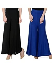Mango People Products Indian Ethnic Rayon Designer Plain Casual Wear Palazzo Pant For Women's ( Black And Royal...