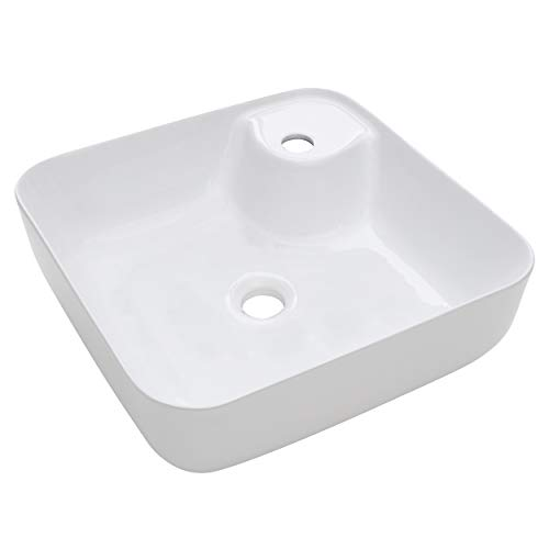 baliv Aufsatzwaschbecken WBA-7010 Keramik | Quadratisches Waschbecken mit Hahnloch und ohne Überlauf