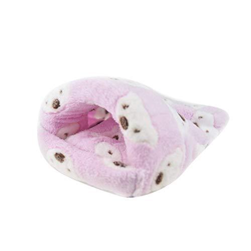POPETPOP Ratte Hamster Haus Bett Winter warme Fleece Kleine Haustier Eichhörnchen Igel Chinchilla Kaninchen Meerschweinchen Bett Haus Käfig Nest Hamster Zubehör - Größe Mitte (Pink)
