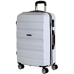 ITACA - Maleta de Viaje Rígida 4 Ruedas Trolley 61 cm Mediana de ABS. Resistente y Ligera. Mango y 2 Asas. Candado. Estudiante y Profesional. Diseño Exclusivo. T71660, Color Blanco