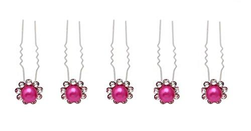 Accessoires mariage cheveux 1 lot de 10 épingles à chignon - perle rose fuchsia à strass