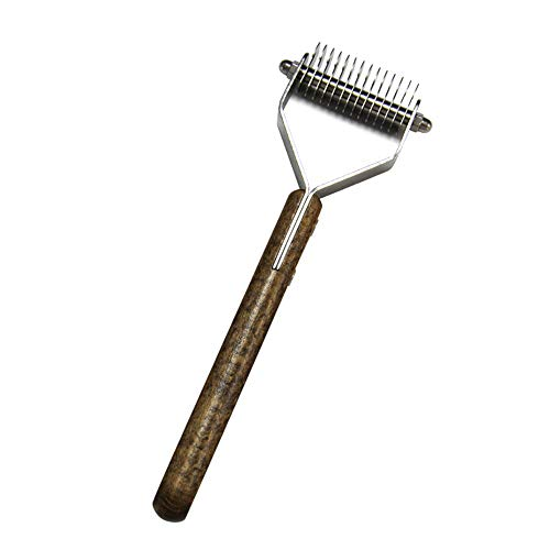 Vlook PET Comb Grooming Rake mit 2 Sided Edelstahl-Kämmen und Walnuss-Handle komfortlichem Strong Delicate und Delicate Protect The Skin for Cats & Dogs