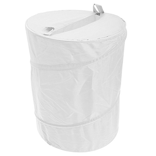 Heavy Duty Pop Up Laundry Hamper Basket Bin Storage 100% Polyester (WHITE)