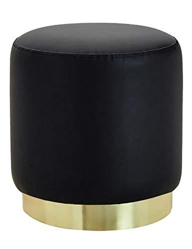 Suhu pouf sgabello poggiapiedi in ecopelle poggiapiedi da divano moderno imbottita similpelle rotondo base dorata moderno basso design nero