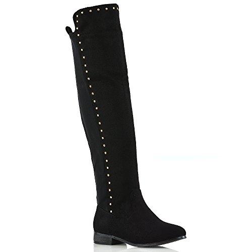 Essex glam donna tacco basso stivali sopra ginocchio le signore nero finto scamosciato borchie d'oro stivali alti alla coscia eu 36