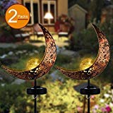 Glass Garden Stake (APONUO Garden Solar Stake LightsAPONUO Pathway Outdoor Moon Crackle Glass Globe Stake Metal LightsWaterproof Warm White LED for LawnPatio or Backyard (2 Packs))