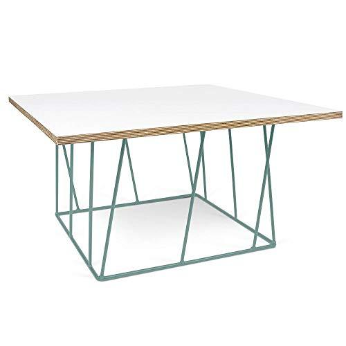 TemaHome Table Basse carrée Helix 75 Plateau Blanc Mat/Bois Structure laquée Verte