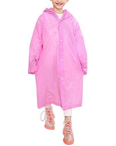 PengGengA Children Rain Ponchos Kids Lightweight Raincoat with Waterproof Hood and Sleeves