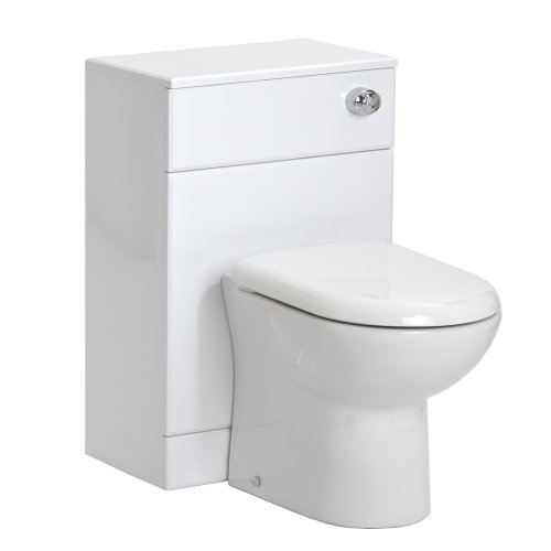 Trueshopping Bathroom Furniture White Gloss Back to Wall Toilet WC Vanity Cabinet Unit 500mm - 2 Sizes Available - 500(W) x 300(D)