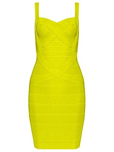 Whoinshop Damen Rayon Bodycon Minikleid Sommerkleid Cocktailkleid Festliches Kleid mit Nettes Ärmellos (XL, Gelb)