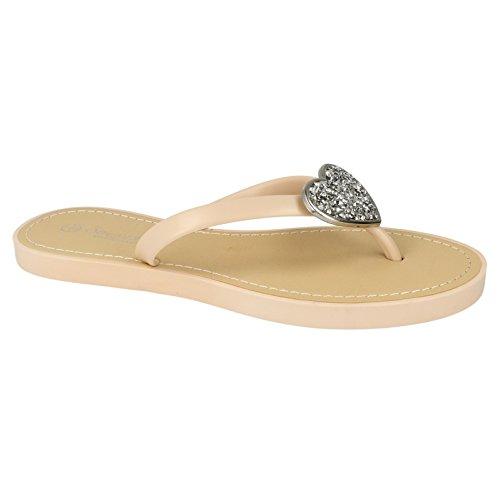 Savannah Damen Flip Flops mit Glitter Herz Akzent Koralle