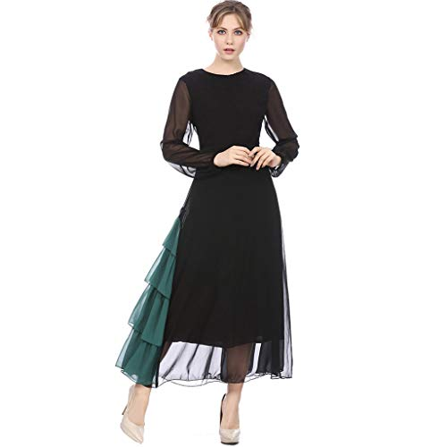 Scrolor Sari Damen Abendkleid Muslim Langärmeliges Indien Kostüm Kontrastnaht Wind Chiffon Kleid Einzigartiges Design(Schwarz,L)