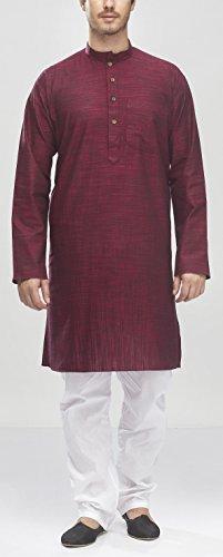 Manyavar Men's Knee Long Cotton Kurta (8903035213884_ML11768-322-M_Maroon)