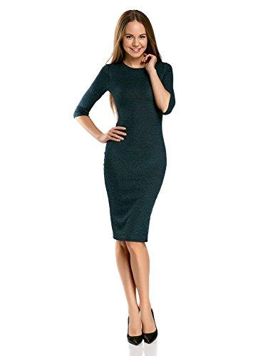 oodji Ultra Damen Mittellanges Geripptes Kleid, Grün, DE 40 / EU 42 / L (Gerippte)