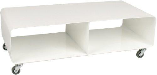 Kare Lounge M TV Mobil, Weiß Hochglanz, modernes, schmales Lowboard Möbel im Retro-Look, Couchtisch mit Rollen, (H/B/T) 30x90x42cm (42 Couchtisch)