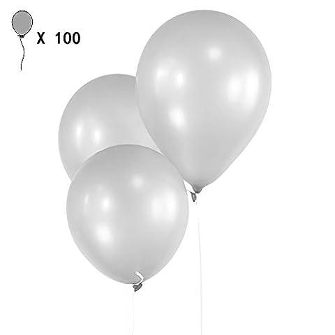 Ballons de Fête Gosear® 100 Pcs 10 Pouces Ballons en Latex pour Mariage Anniversaire Noël Fête de Vacances Fournitures Décoration Party Balloons Gris Argenté