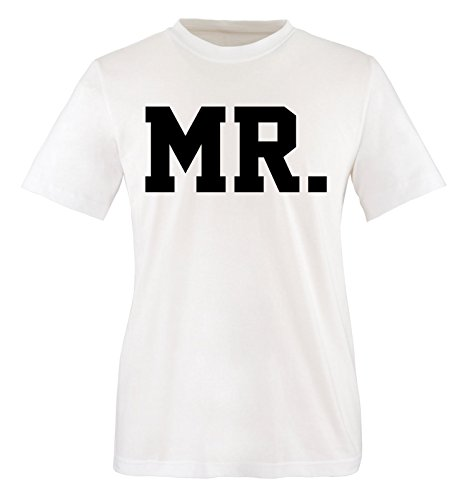 Comedy Shirts - MR. - SUPERSTAR STYLE - Herren T-Shirt - Weiss / Schwarz Gr. L (Disney Paare Sweatshirts)