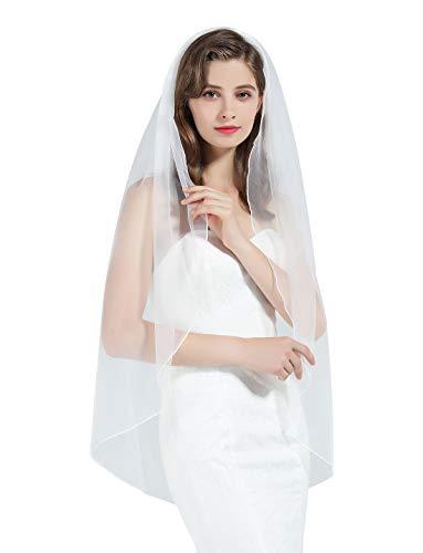 BEAUTELICATE Schleier Brautschleier Braut Hochzeit Softtüll Weiß Ivory Lang Kurz Ellbogenlang Mit Metall Kamm 1 Schicht V89- Fingerspitzen länge:100cm, Weiß (Brautkleid Schleier)