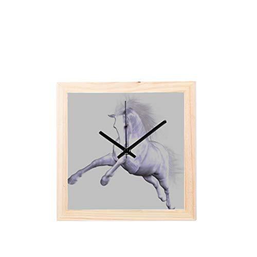 Yushg Kraftstation Uhr Interessant Springpferd Tier Nicht tickt Platz Stille Holz Diamant Display Wanduhren Malerei Zifferblatt Küche Schlafzimmer Dekor Wanduhr Für Frauen